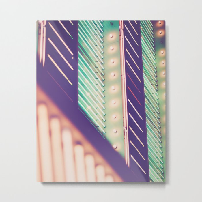Turquoise Neon Metal Print