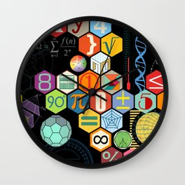 Math in color Black B Wall Clock