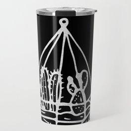 Minimalist Cacti Collection White on Black Travel Mug