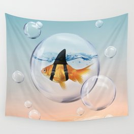 Shark Fin Goldfish in a Bubble Wall Tapestry