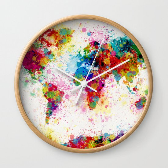 Map of the World Map Paint Splashes Wall Clock