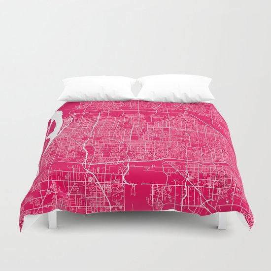 Memphis map rapsberry Duvet Cover