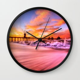 Dawn High Tide Huntington Beach Pier Wall Clock