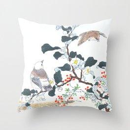 Three Daurian Starlings Near The Little Spring - Antique Japanese Woodcut Print Art By Kono Bairei Throw Pillow