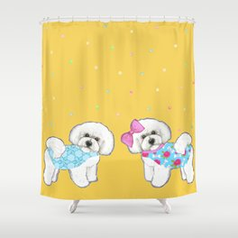Bichon Frise Holidays yellow cute dogs, Christmas gift, holiday gift, birthday gift, dog, Bijon Shower Curtain