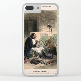 A doctor administers an enema to a dog; other bandaged animals sit nearby. Coloured lithograph by C. Clear iPhone Case