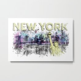 Modern Art NEW YORK CITY Skyline Splashes | yellow Metal Print