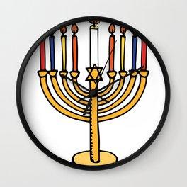 Abstract Menorah Candles Wall Clock