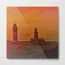 Good Morning / New and Old Lighthouse Fuencaliente La Palma Metal Print