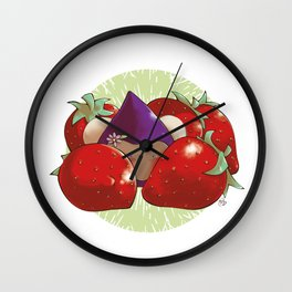Poppette and strawberries Wall Clock