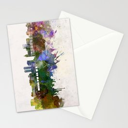 Peoria skyline in watercolor background Stationery Cards
