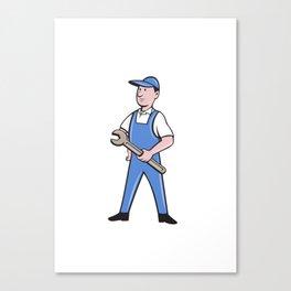 Repairman Holding Spanner Cartoon  Canvas Print