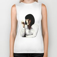 mia wallace Biker Tanks featuring Mia Wallace by Clotilde Petit
