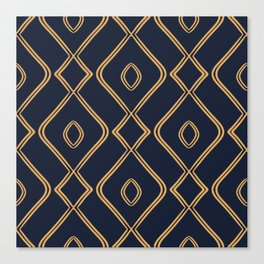 Modern Boho Ogee in Navy & Gold Canvas Print