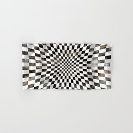 Chessboard Black Watercolor and gold Hand & Bath Towel