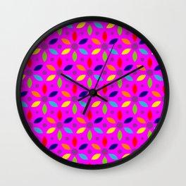 flowery magenta sheild Wall Clock