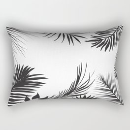 Black And White Palm Leaves Rectangular Pillow