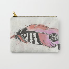 Pink and Orange Feather Carry-All Pouch