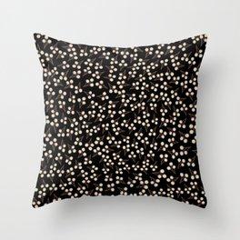 Cotton Stems Botanical Pattern in Brown Cream Black Throw Pillow