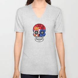 Sugar Skull with Roses and Flag of Serbia Unisex V-Neck
