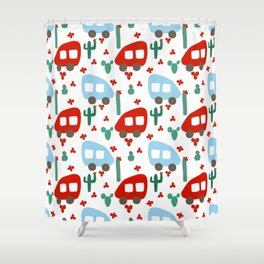 Camper Vans in Red and Blue with Green Cactus and Red Flowers Shower Curtain