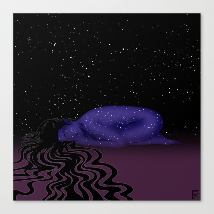 Nuit, The Lady of the Stars Canvas Print