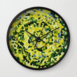 Yellow and Blue Crystallized Swirls Wall Clock