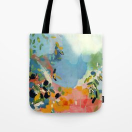 garden with sea view and olive tree Tote Bag