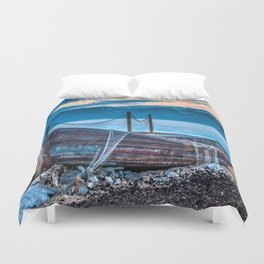 Old fishing boat with net Duvet Cover