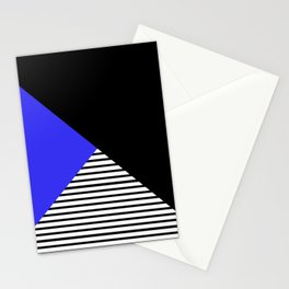 Blue & Black Geometric Abstraction Stationery Cards