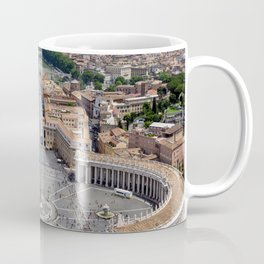 Saint Peter's Square in Vatican and aerial view of Rome Coffee Mug