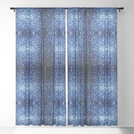 Beautiful Dark Blue glitter sparkles Sheer Curtain
