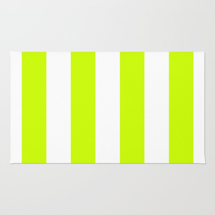 Vertical Stripes - White and Fluorescent Yellow Rug