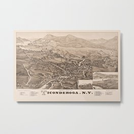 Ticonderoga Map 1884 (Sepia) Metal Print