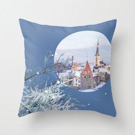 Snowy City II Throw Pillow