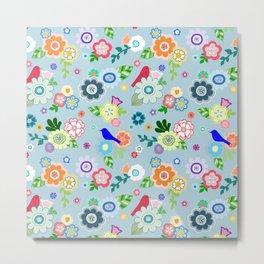 Whimsical Spring Flowers in Blue Metal Print