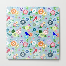 Whimsical Spring Flowers in Blue Metal Print