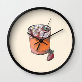 Strawberry chamomile paloma, cocktail, cocktails, beverage Wall Clock