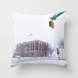 Snow NYC West Side Highway Throw Pillow