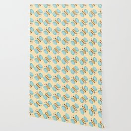 Cute Bumblebees Pattern over Yellow Background Wallpaper