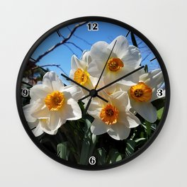 Sunny Faces of Spring - Gold and White Narcissus Flowers Wall Clock
