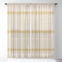 Minimal Geometric Pattern - Yellow Sheer Curtain