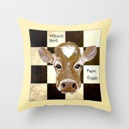 Farmhouse Cow, Welcome Home Farm Fresh Throw Pillow