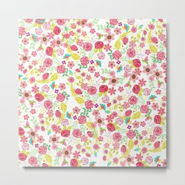 Rustic pink red yellow botanical roses flowers floral pattern Metal Print