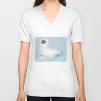 seal V-neck T-shirts featuring Cool seal by Michelle Behar
