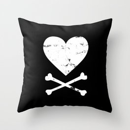 Heart and Crossbones - White Throw Pillow