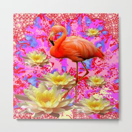 Pink Saffron Flamingo Yellow Water Lilies Deco Art Metal Print