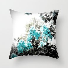 Turquoise & Gray Flowers Throw Pillow