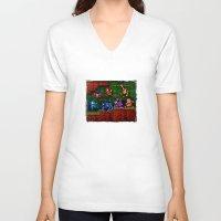 megaman V-neck T-shirts featuring Megaman Woodman by likelikes