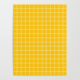 Mikado yellow - yellow color -  White Lines Grid Pattern Poster